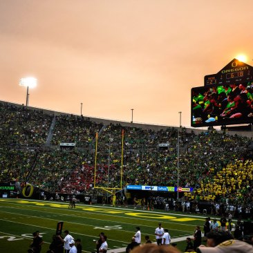 oregon stadium at night