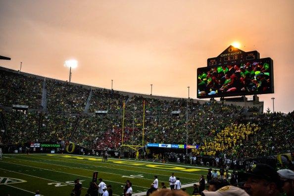 oregon stadium at night